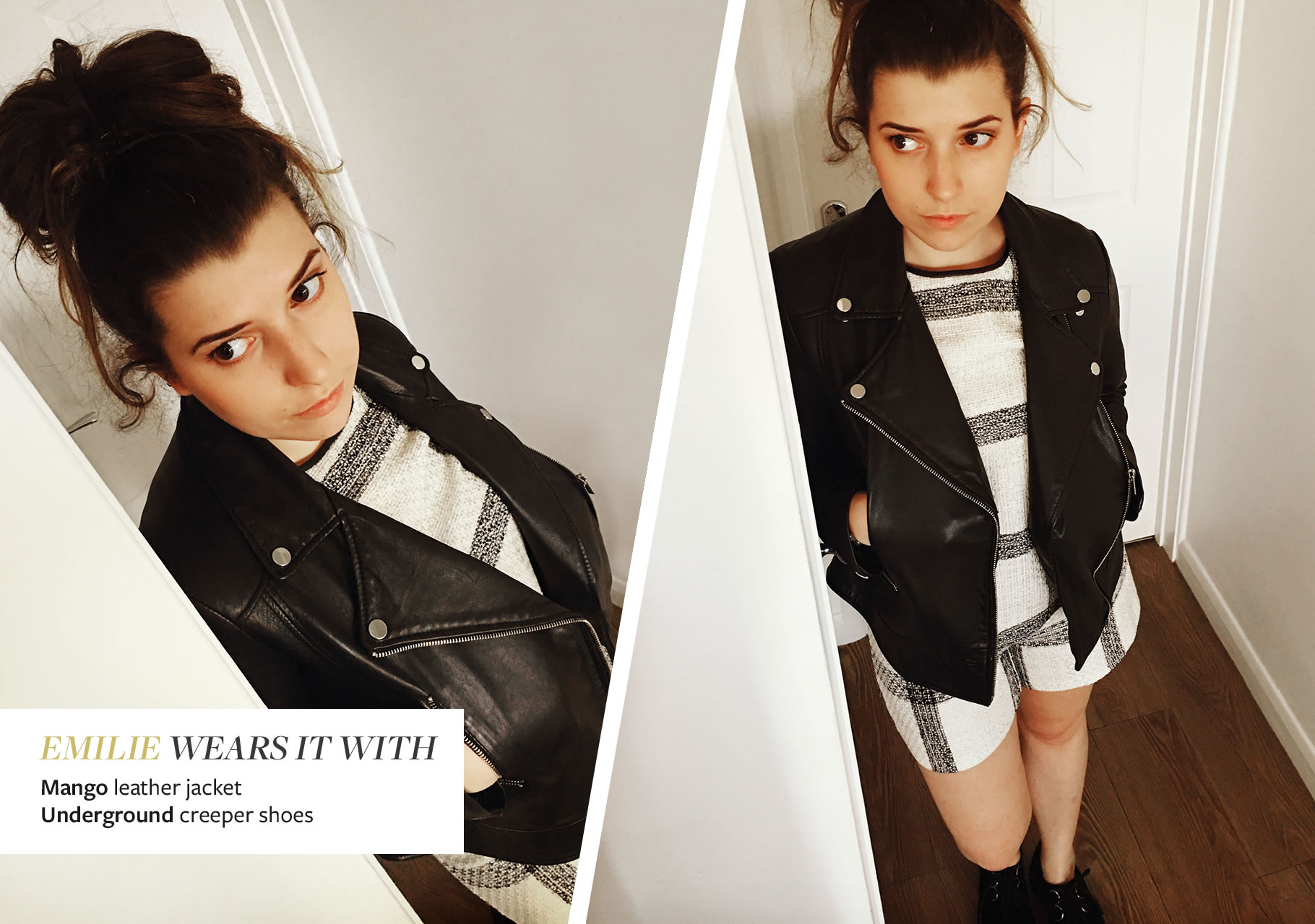 Emilie Wears it with Mango leather Jacket and Underground Creeper Shoes