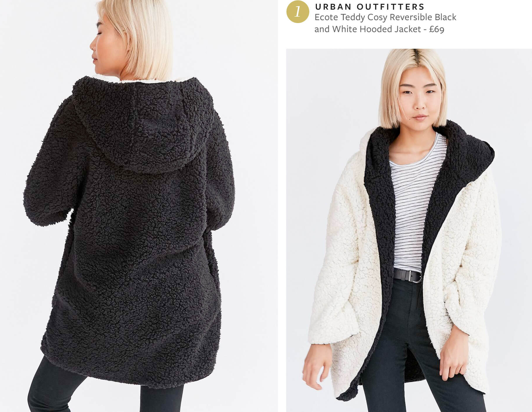 Ecote Teddy Cosy Reversible Black and White Hooded Jacket from Urban Outfitters