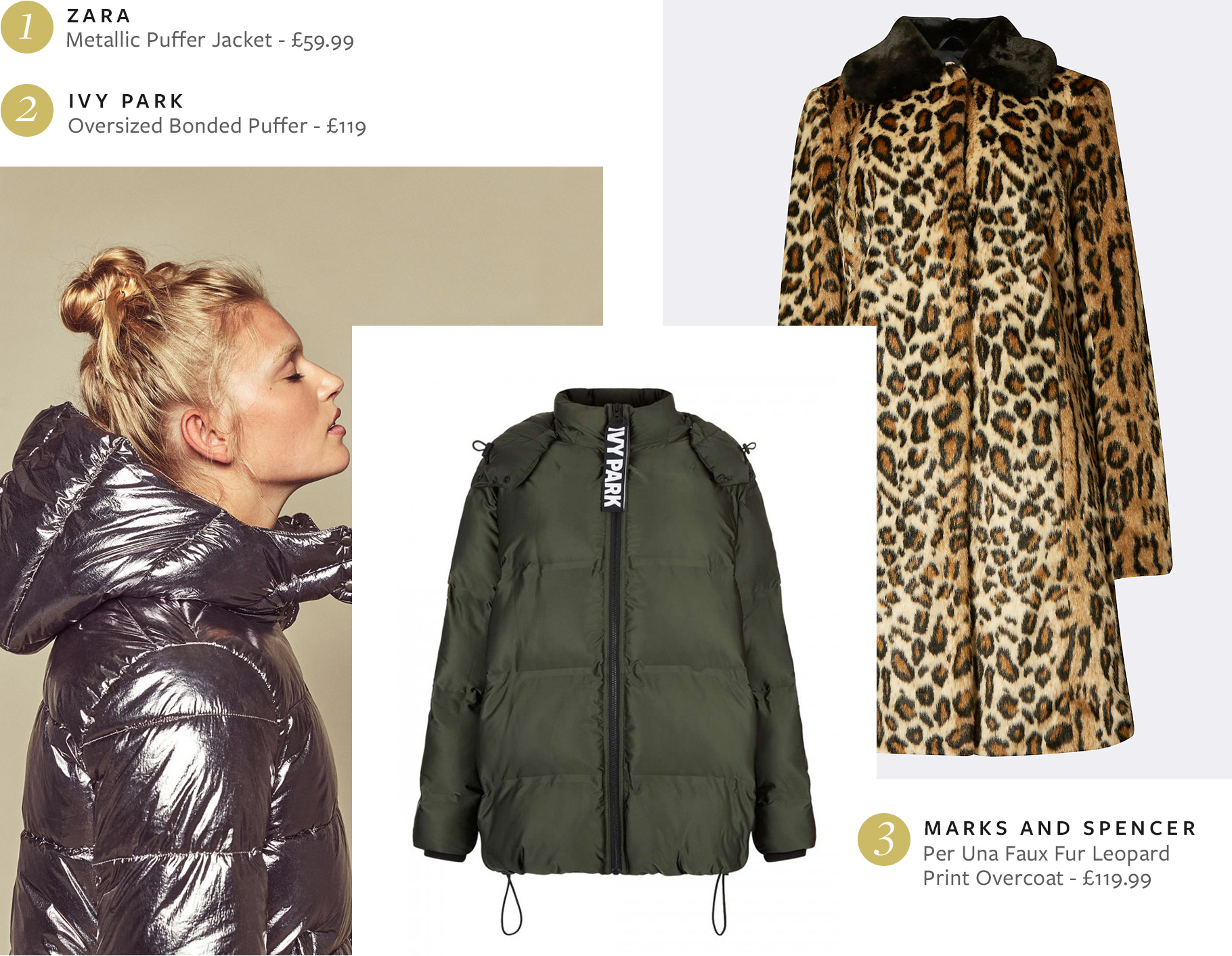 AW16 - Zara Metallic Quilted Jacket, Ivy Park Oversized Bonded Puffer, M&S Per Una Faux Fur Leopard Print Overcoat