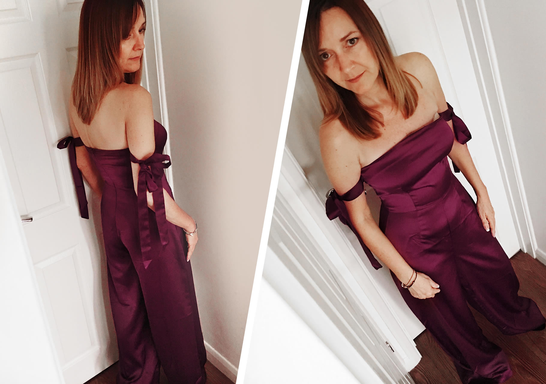 Dawn wears Missguided- Burgundy Satin Bardot Tie Sleeve Jumpsuit