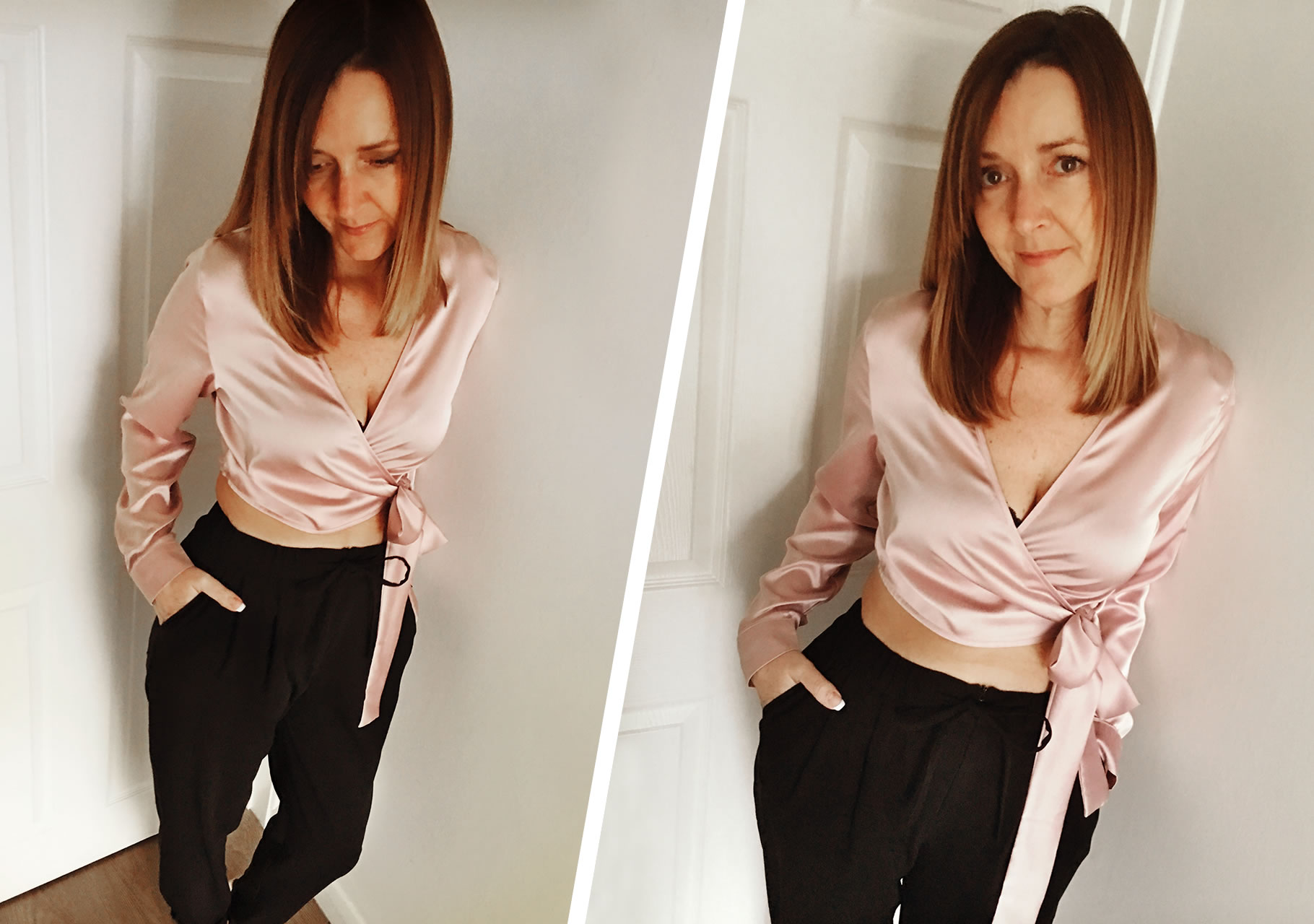Dawn wears Missguided- Long Sleeve Satin Wrap Front Crop Pink with Urban Outfitters- Light Before Dark Zip-Front Black Trousers