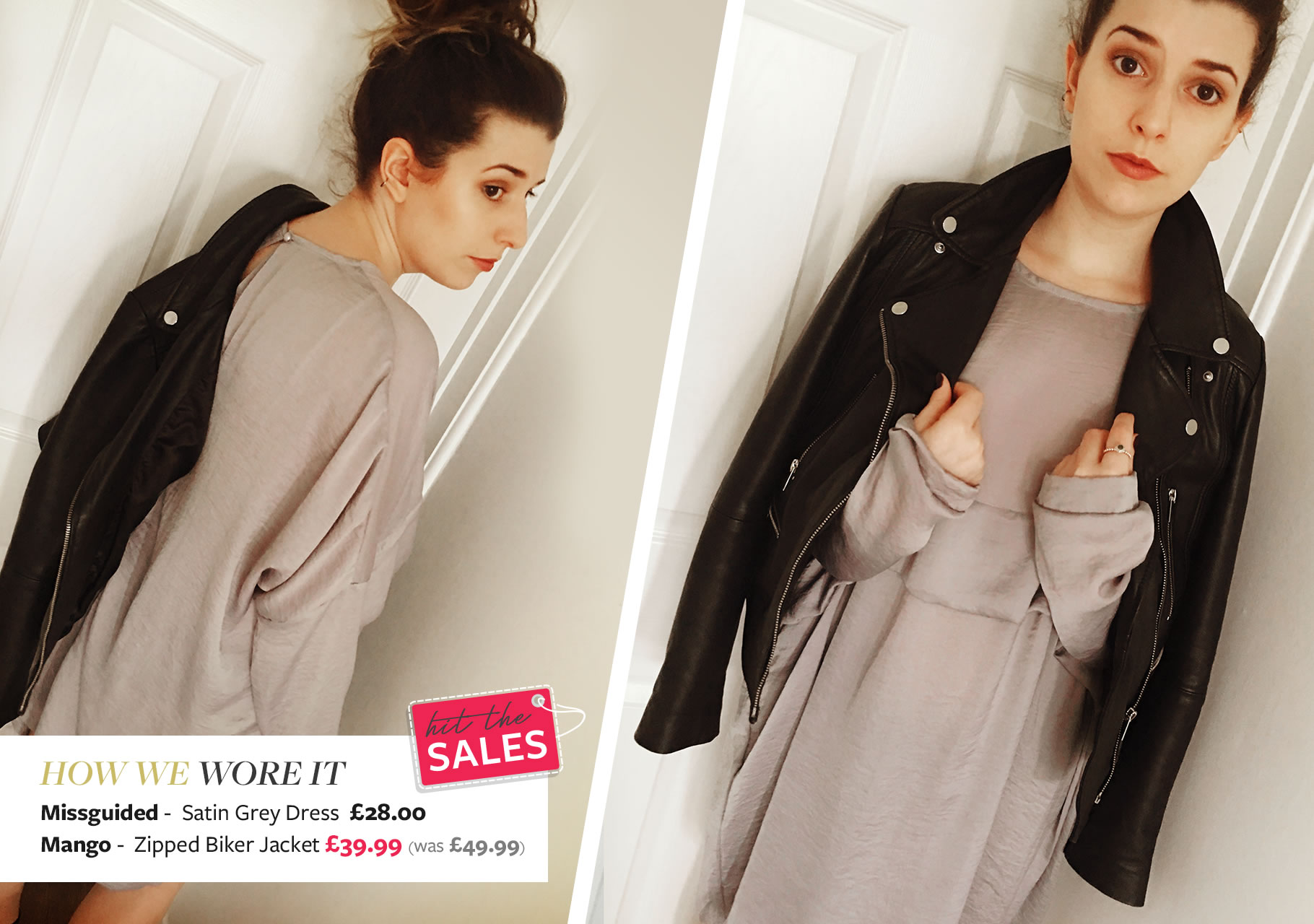 Emilie wears Missguided- Satin Grey Dress