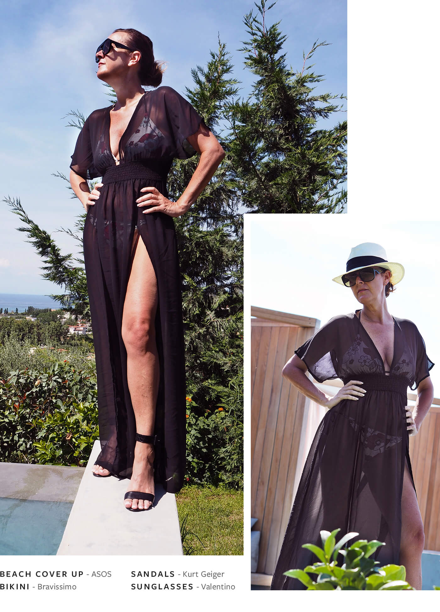 By the pool look - ASOS shirred waist maxi chiffon beach kaftan