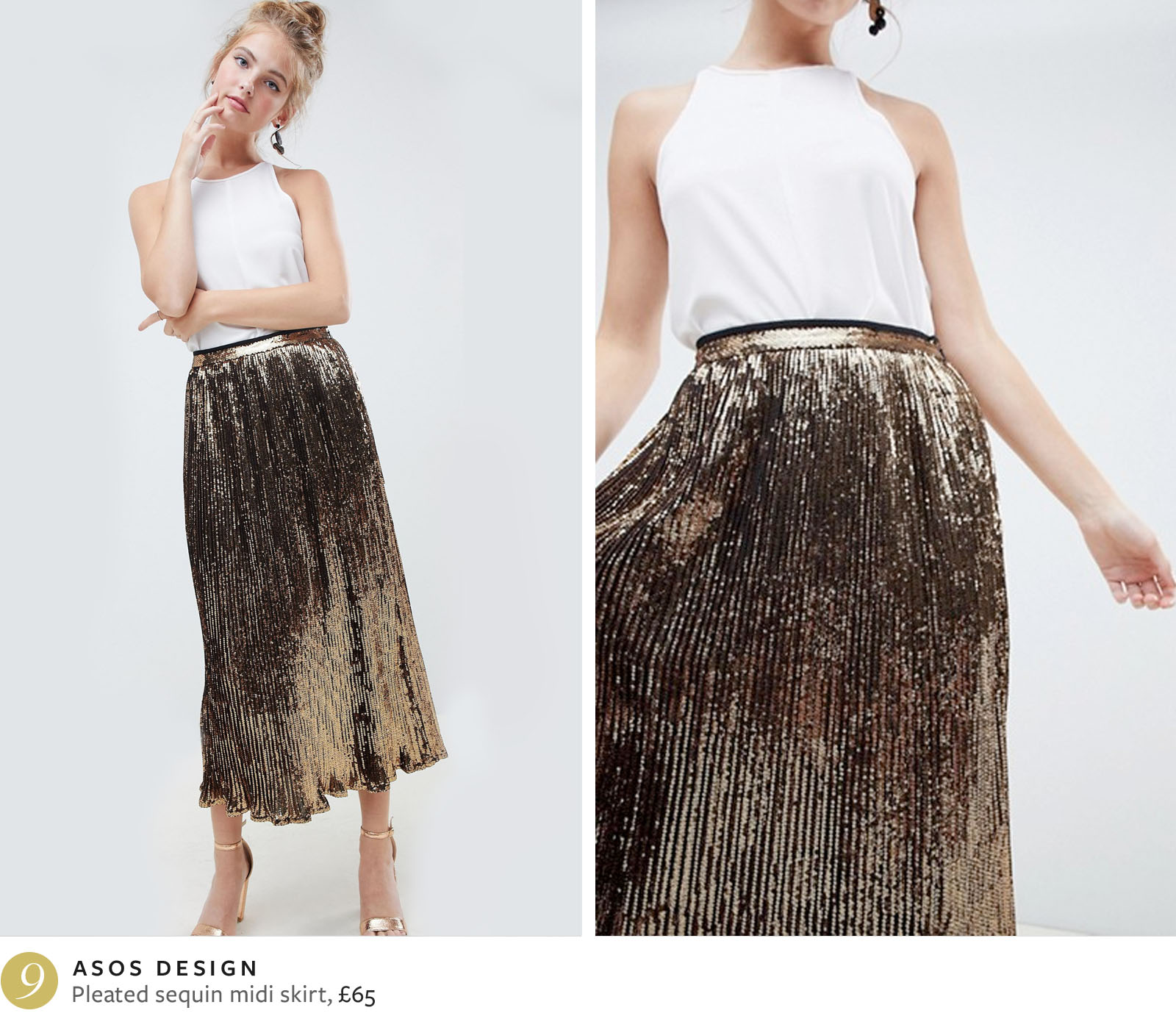 ASOS pleated sequin midi skirt
