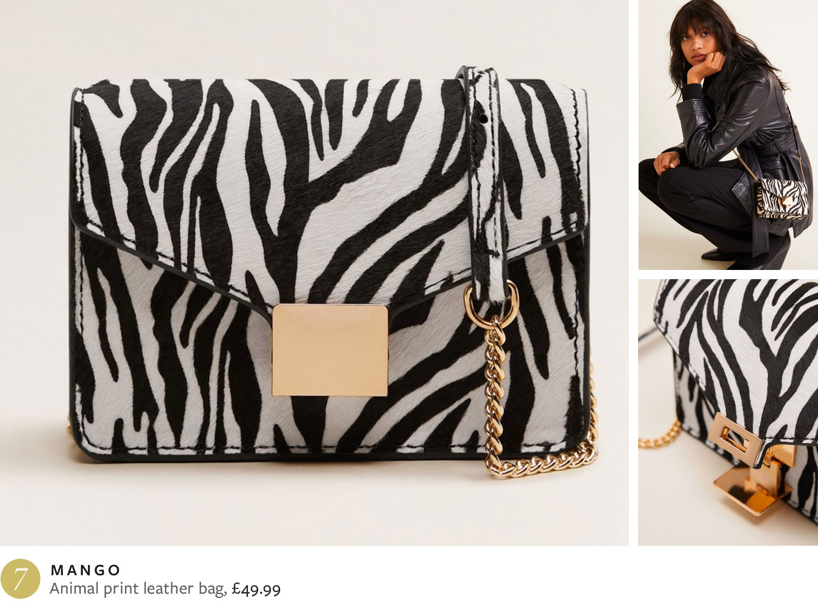 Mango animal print leather bag