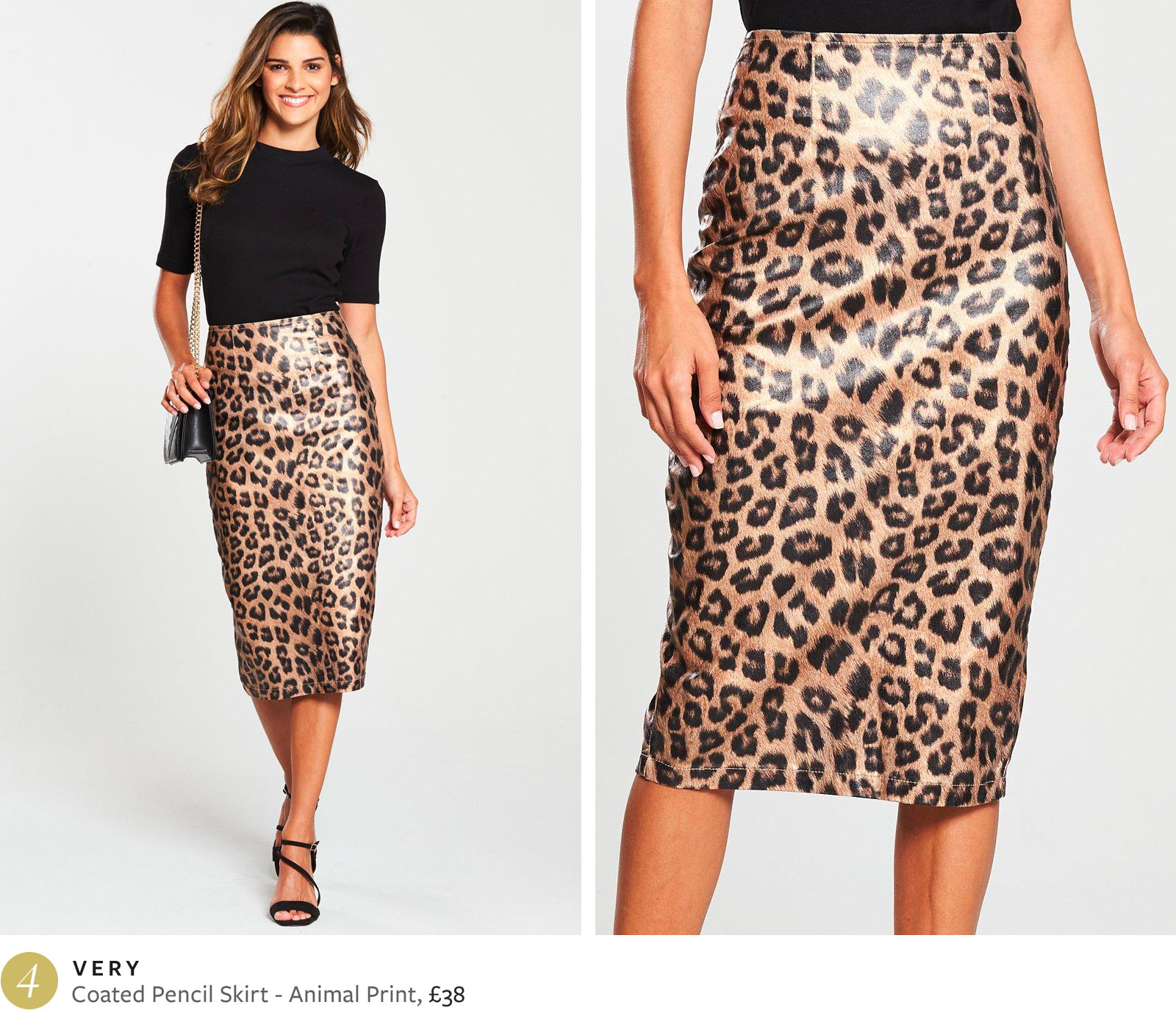 Very coated pencil skirt animal print