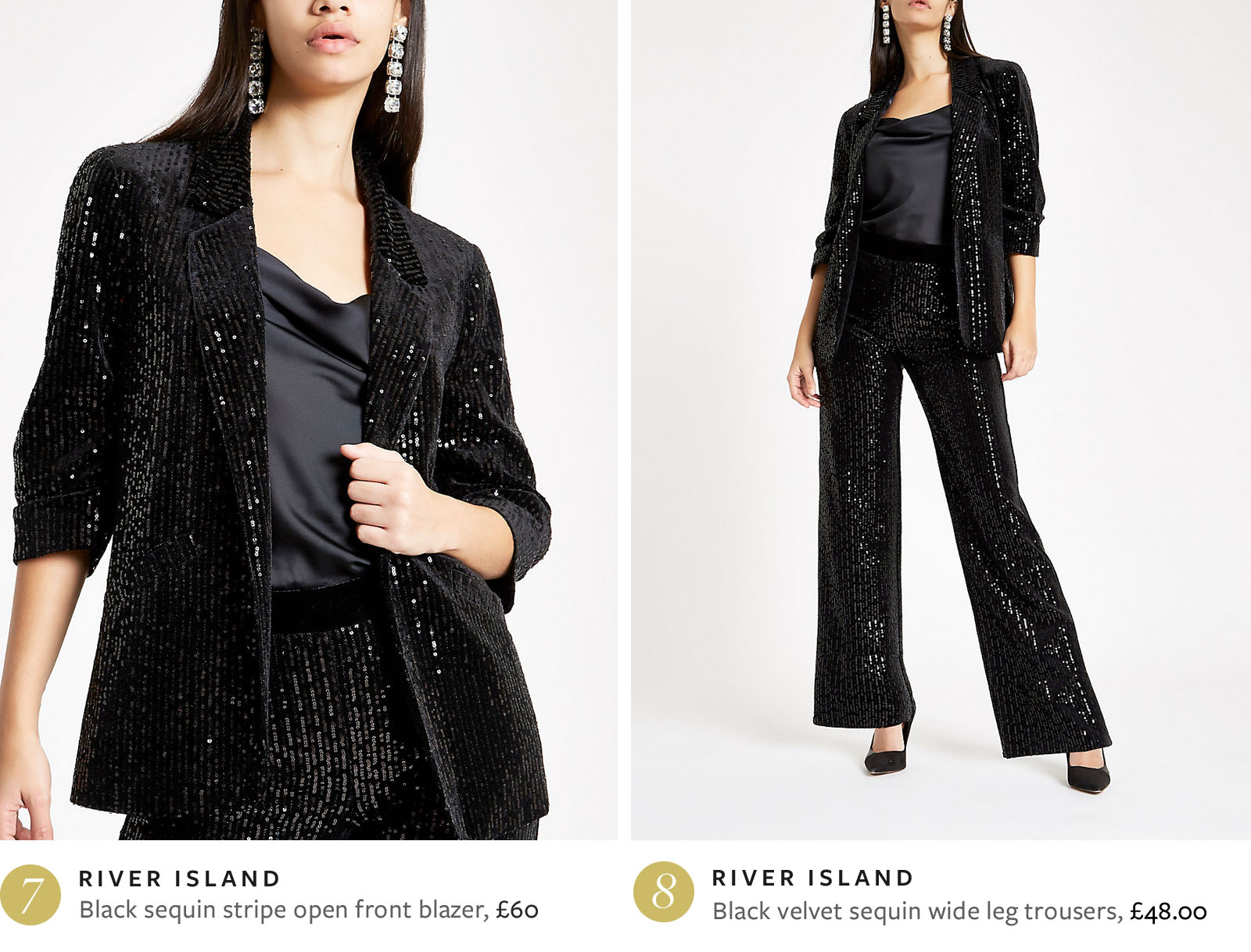Black sequin blazer and trousers