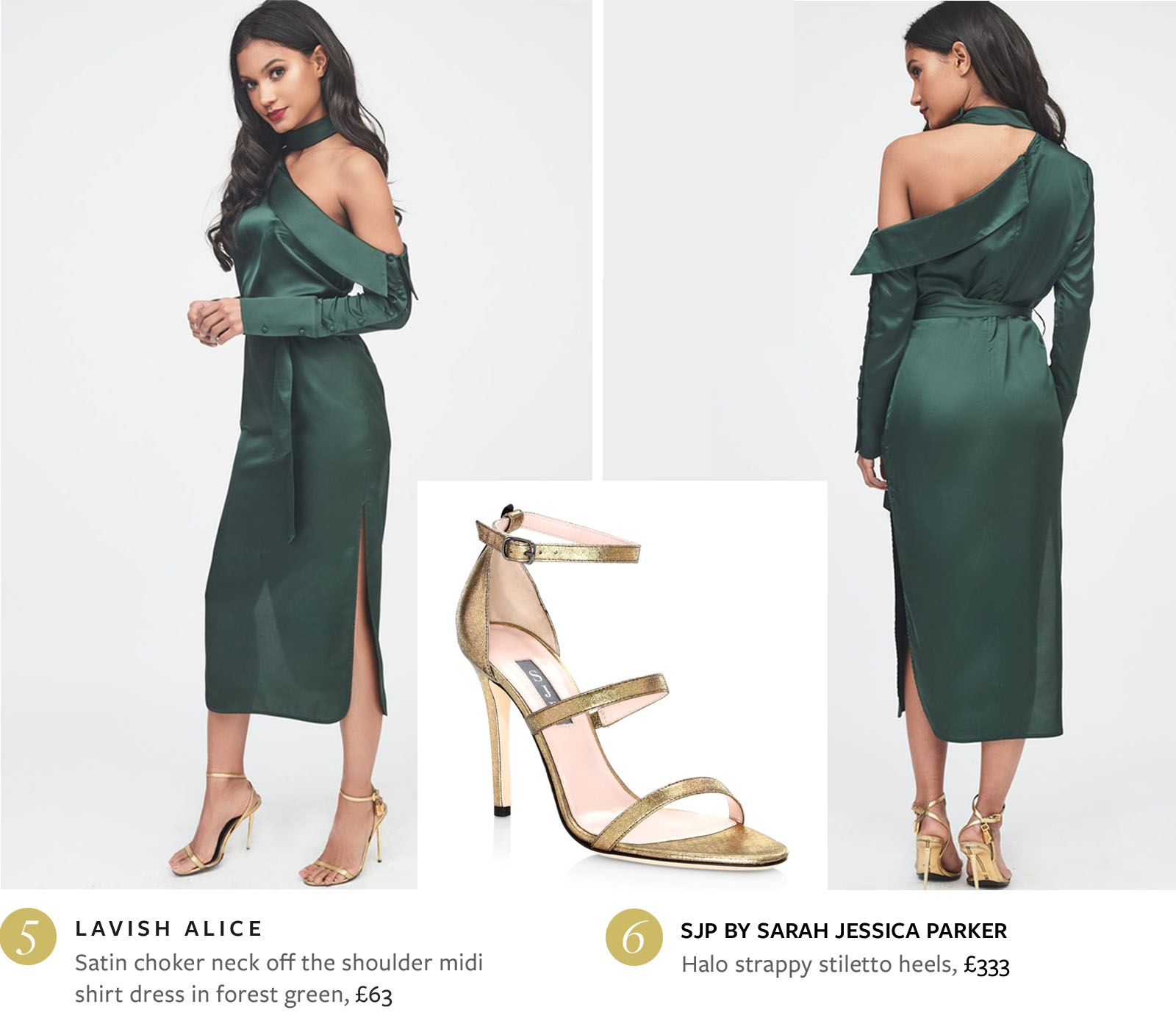 Satin Choker Neck Off The Shoulder Midi Shirt Dress